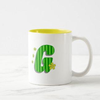 green G monogram Two-Tone Coffee Mug