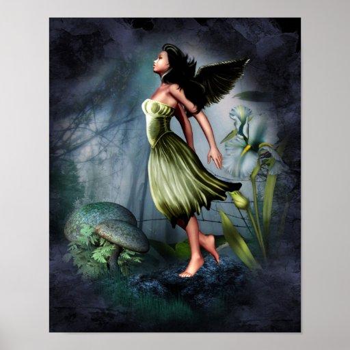 Green Garden Angel Poster