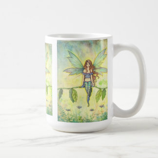 Green Garden Fairy by Molly Harrison Fantasy Art Basic White Mug