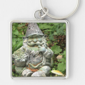 Green Garden Gnome Photograph Silver-Colored Square Key Ring