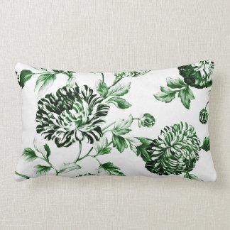 Green Garden Modern Botanical Floral Toile Lumbar Cushion