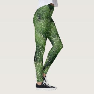 Green Garden Mums Leggings