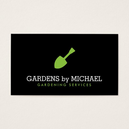 Green Garden Shovel Gardening Landscaping Services Business Card