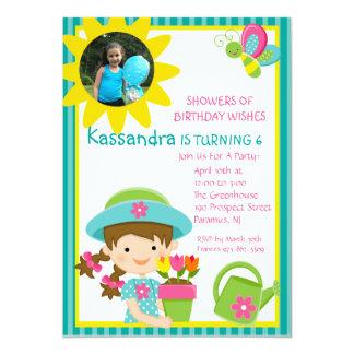 Green Gardening Girl Photo Birthday Invitation