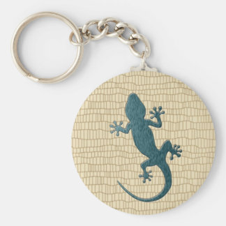 Green Gecko on Reptile Basic Round Button Key Ring