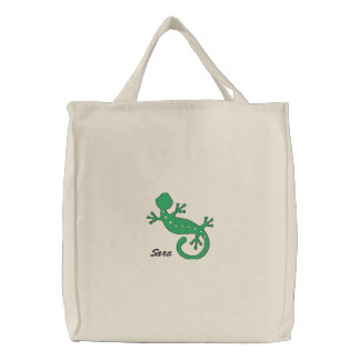 Green Gecko Personalized Embroidered Bag