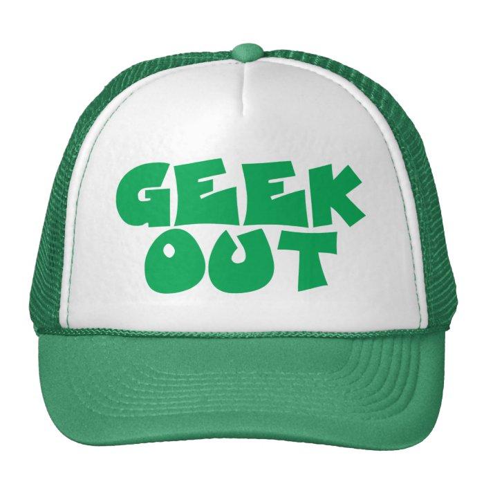 Green Geek Out Text Design Cap