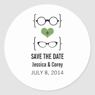 Green Geeky Glasses Save the Date Stickers