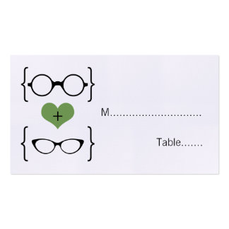 Green Geeky Glasses Wedding Place Cards Pack Of Standard Business Cards