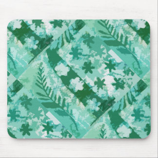Green gel plate print flowers leaves mouse mat