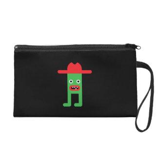 Green gentleman, red hat wristlet clutch