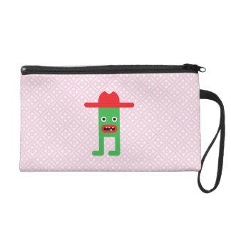 Green gentleman, red hat wristlet purses