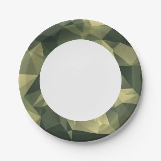 Green Geometric Camouflage. Camo your 7 Inch Paper Plate