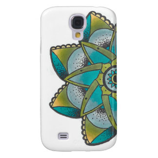 Green Geometric Flower Design S4 Samsung Phone Cas Galaxy S4 Case