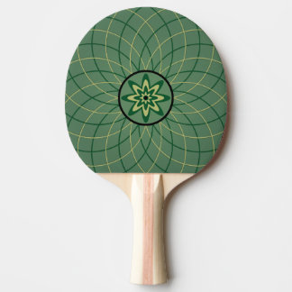 Green Geometric Flower Ping-Pong Paddle