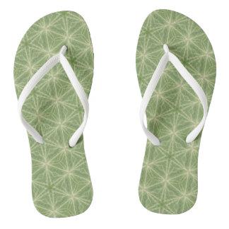 Green Geometric Ivy Leaf Flip Flops