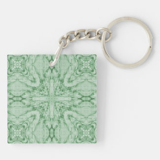 Green geometric pattern acrylic key chains