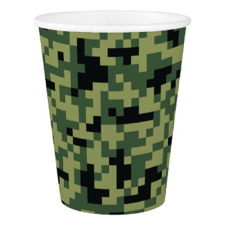 Green Geometric Pixel Camouflage. Camo your Paper Cup