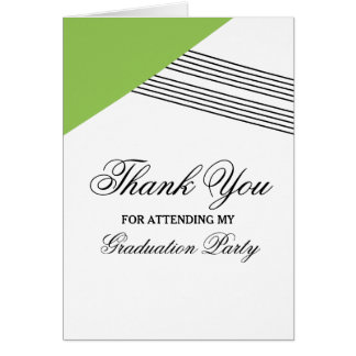 Green Geometric Stripe Graduation Thank You Card