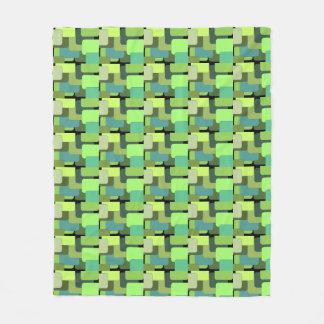 Green Geometrical Abstract Fleece Blanket
