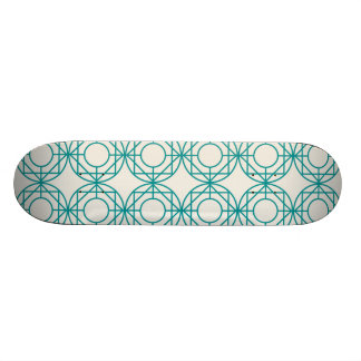 Green geometrical retro vintage patterns 20.6 cm skateboard deck