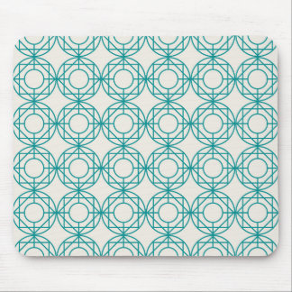 Green geometrical retro vintage patterns mouse pad