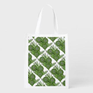 Green Gerbera Daisy Flower Bouquet Reusable Grocery Bag