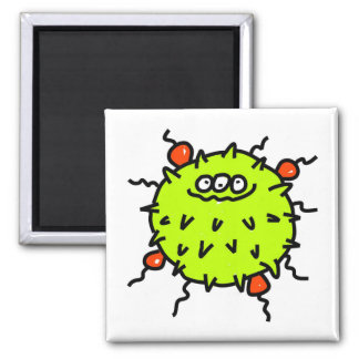 Green Germ Square Magnet