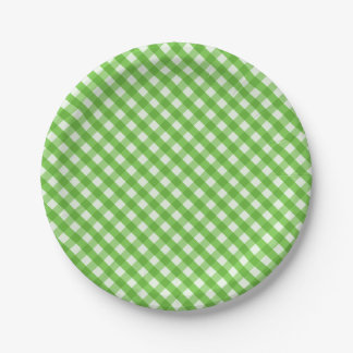 Green Gingham 7 Inch Paper Plate