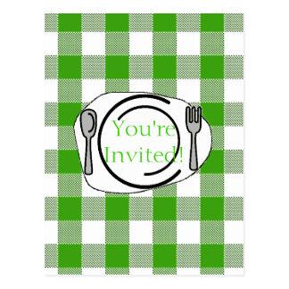 Green Gingham BBQ Invite Postcard