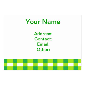 Green Gingham Pack Of Chubby Business Cards