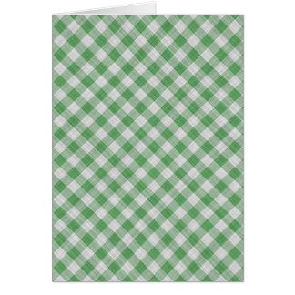 Green Gingham Check - Diagonal Pattern Greeting Card