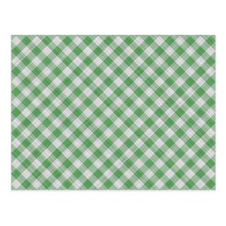 Green Gingham Check - Diagonal Pattern Postcard