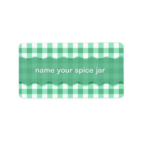 Green Gingham Chequered Design Kitchen Label