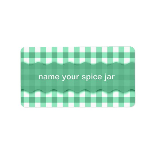 Green Gingham Chequered Design Kitchen Label Address Label