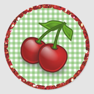 Green Gingham Cherries Stickers