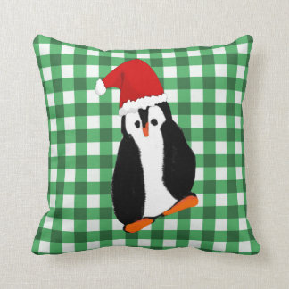 Green Gingham Christmas Penguin and Greeting Cushion