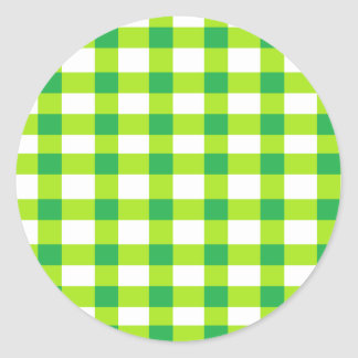 Green Gingham Classic Round Sticker