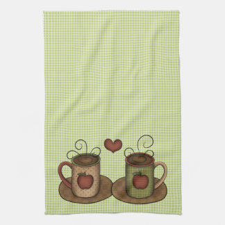 Green Gingham Coffee Time Tea Towel