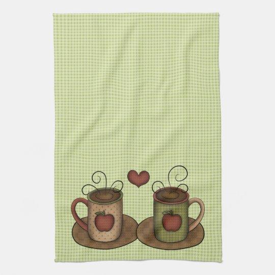 Green Gingham Coffee Time Tea Towel