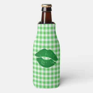 Green Gingham Fun Irish Kiss St Patrick's Day Bottle Cooler