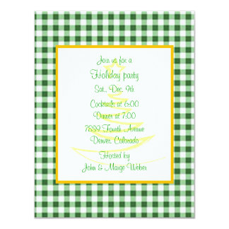 Green Gingham Gold Holiday Party Invitation