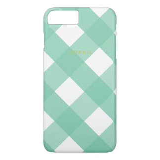 Green Gingham iPhone 7 Plus Case