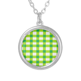 Green Gingham Round Pendant Necklace