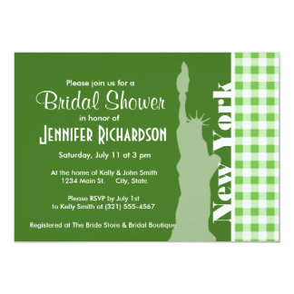 Green Gingham New York; Statue of Liberty Custom Announcements