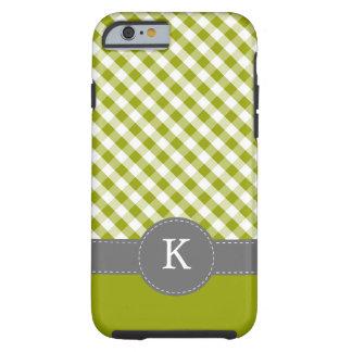 Green Gingham Pattern Monogram Tough iPhone 6 Case