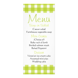 Green Gingham Plaid Wedding Menu Party Checks