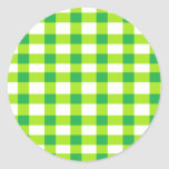 Green Gingham Round Stickers