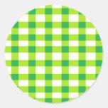 Green Gingham Round Stickers