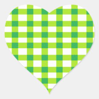 Green Gingham Heart Sticker